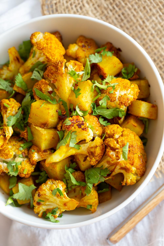 Baked Aloo Gobi Vegan Recipe Indian Spiced Potato Cauliflower